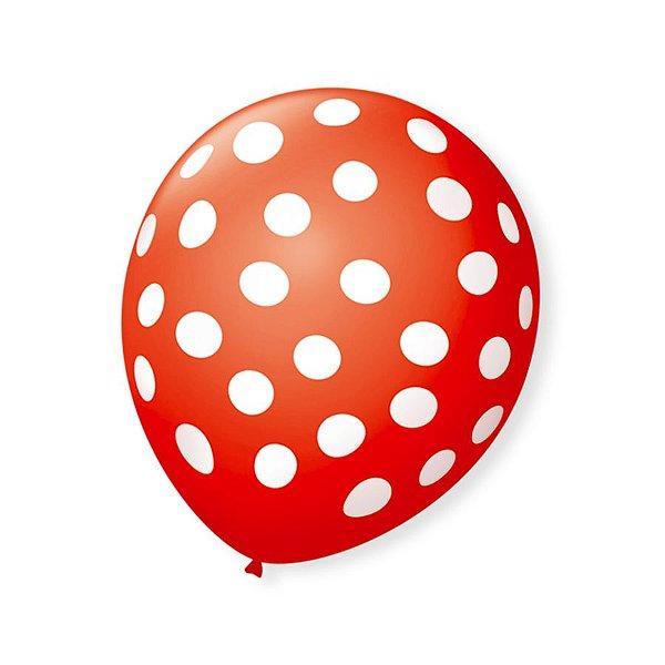 Balão de Festa Bolinhas Vermelho Poá Branco 9'' 23cm - 25 unidades - São Roque - Rizzo Festas