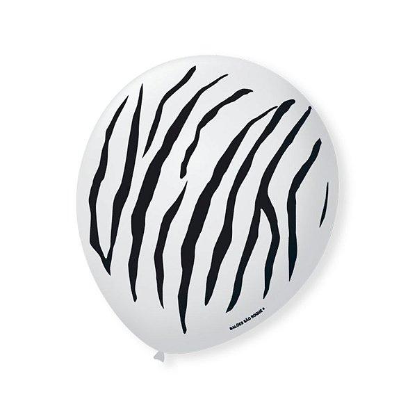 Balão de Festa Safari Zebra 9'' 23cm - 25 unidades - São Roque - Rizzo Festas