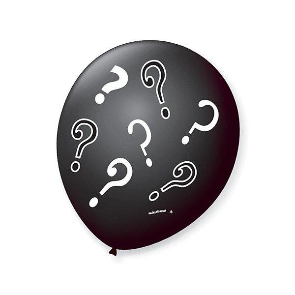 Balão de Festa Chá Revelação Interrogação 9'' 23cm - 25 unidades - São Roque - Rizzo Festas