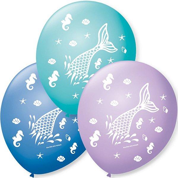 Balão de Festa Sereia Fundo do Mar Sortido 9'' 23cm - 25 unidades - São Roque - Rizzo Festas