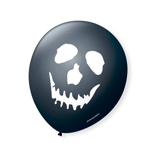 Balão de Festa Halloween Preto Caveira Branca 9'' 23cm - 25 unidades - São Roque - Rizzo Festas