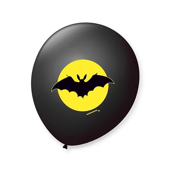 Balão de Festa Halloween Morcego Preto 9'' 23cm - 25 unidades - São Roque - Rizzo Festas
