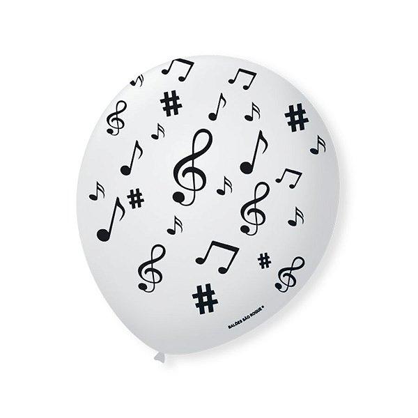 Balão de Festa Branco Nota Musical Preta 9'' 23cm - 25 unidades - São Roque - Rizzo Festas