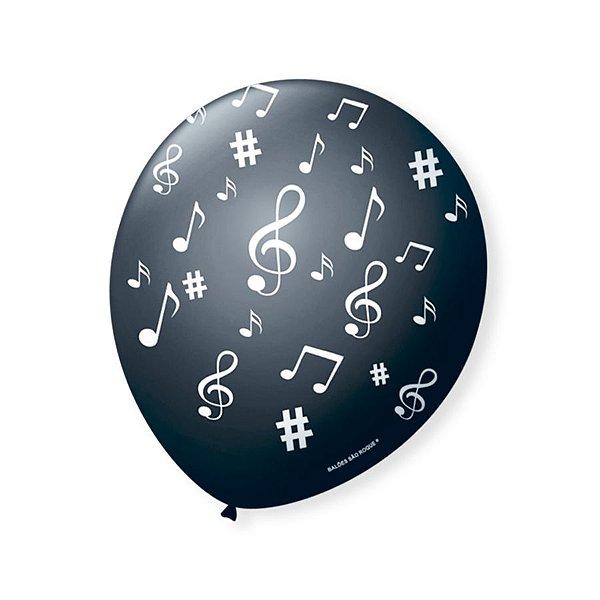 Balão de Festa Preto Nota Musical Branca 9'' 23cm - 25 unidades - São Roque - Rizzo Festas