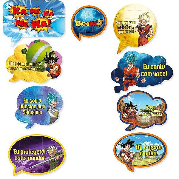 Kit Plaquinhas Divertidas Festa Dragon Ball - 9 unidades - Festcolor - Rizzo Festas