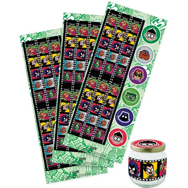 Adesivo para Lembrancinha Festa Jovens Titãs - 36 unidades - Festcolor - Rizzo Festas