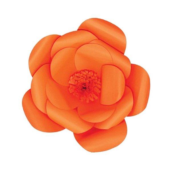 Flor de Papel Decoração Festa - Camélia 27cm PP Laranja - Decora Doces - Rizzo Festas