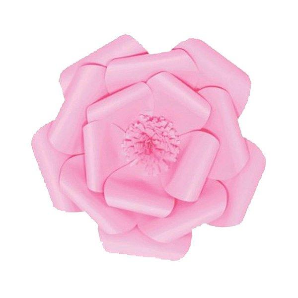 Flor de Papel Decoração Festa - Camélia 27cm PP Rosa Claro - Decora Doces - Rizzo Festas