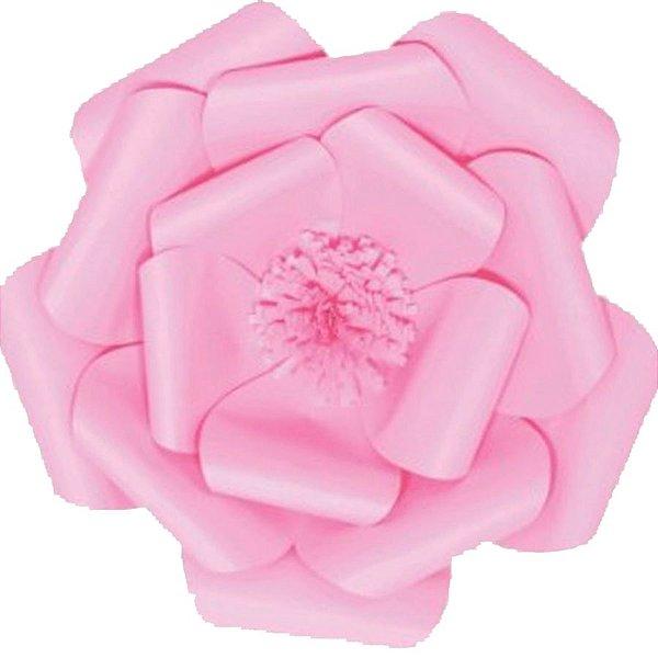 Flor de Papel Decoração Festa - Camélia 39cm M Rosa Claro - Decora Doces - Rizzo Festas