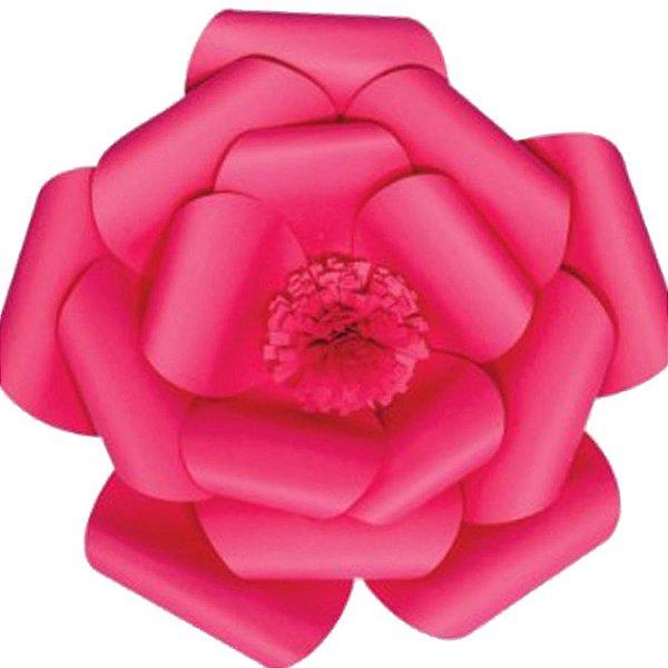 Flor de Papel Decoração Festa - Camélia 39cm M Rosa Pink - Decora Doces - Rizzo Festas