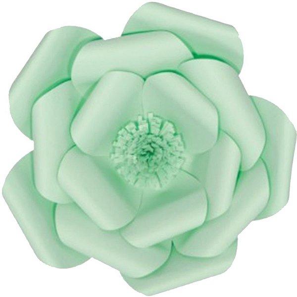 Flor de Papel Decoração Festa - Camélia 39cm M Verde Água - Decora Doces - Rizzo Festas