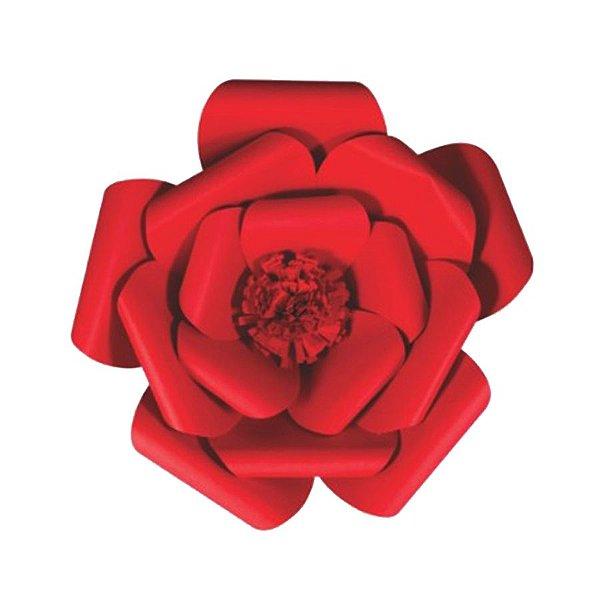 Flor de Papel Decoração Festa - Camélia 32cm P Vermelha - Decora Doces - Rizzo Festas