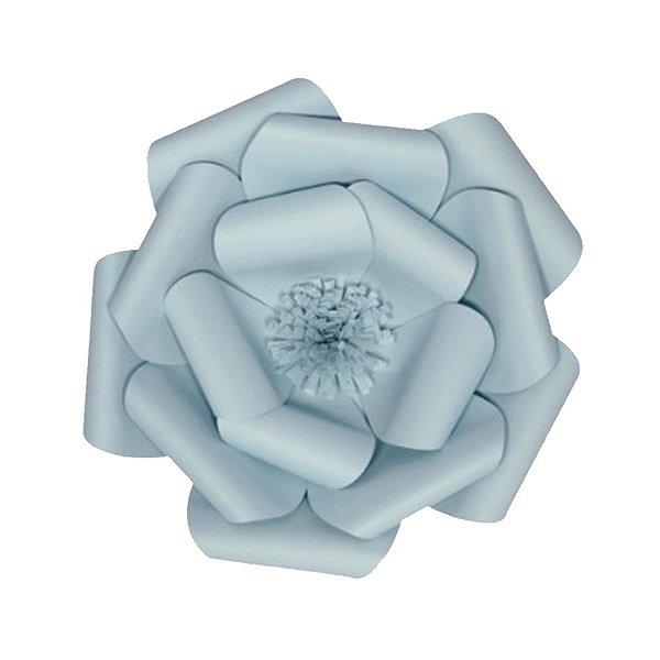 Flor de Papel Decoração Festa - Camélia 27cm PP Azul Claro - Decora Doces - Rizzo Festas
