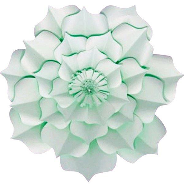 Flor de Papel Decoração Festa - Flor do Campo 39cm M Verde Água - Decora Doces - Rizzo Festas