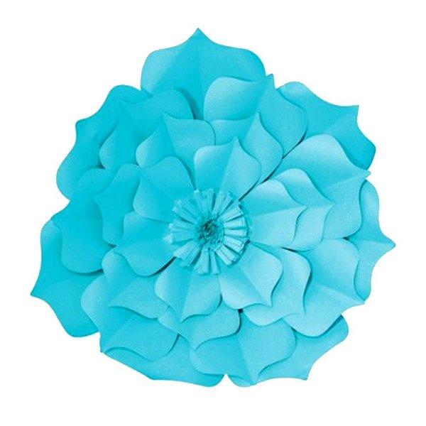 Flor de Papel Decoração Festa - Flor do Campo 32cm P Azul Turquesa - Decora Doces - Rizzo Festas