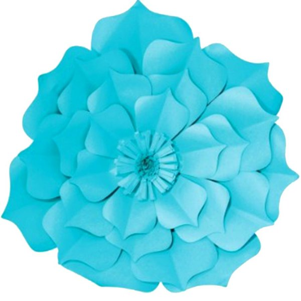 Flor de Papel Decoração Festa - Flor do Campo 39cm M Azul Turquesa - Decora Doces - Rizzo Festas