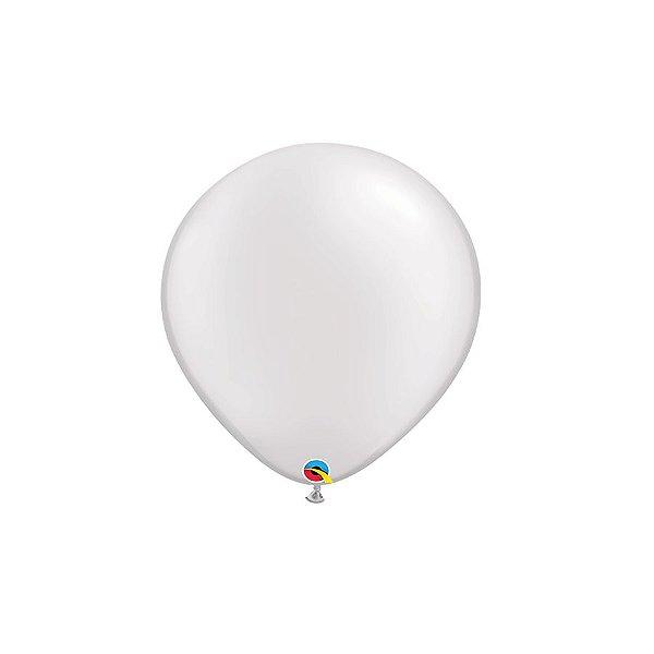 Balão Qualatex Perolado Radiante Opaco Branco 5'' 5 unidades Profissional - Rizzo Festas