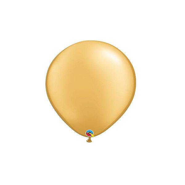Balão Qualatex Perolado Radiante Opaco Ouro 5'' 5 unidades Profissional - Rizzo Festas