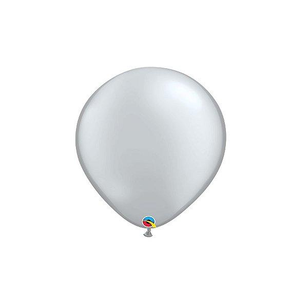 Balão Qualatex Perolado Radiante Opaco Prata 5'' 5 unidades Profissional - Rizzo Festas