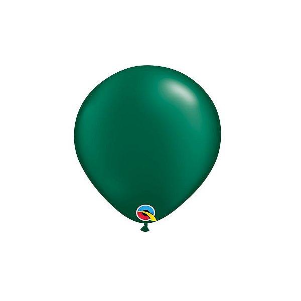 Balão Qualatex Perolado Radiante Opaco Verde Floresta 5'' 5 unidades Profissional - Rizzo Festas