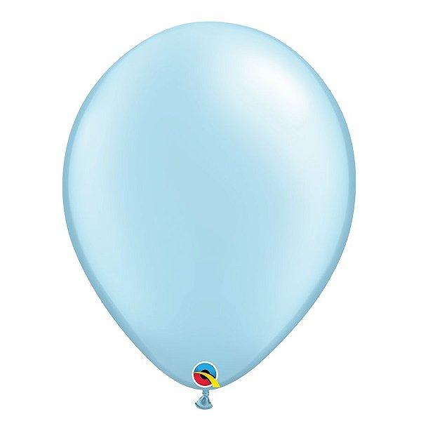 Balão Qualatex Perolado Radiante Opaco Azul Claro 11'' 5 unidades Profissional - Rizzo Festas
