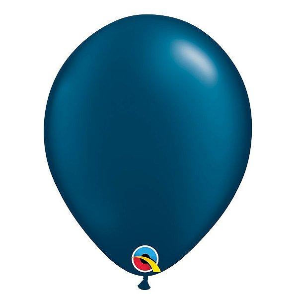 Balão Qualatex Perolado Radiante Opaco Azul Noite 11'' 5 unidades Profissional - Rizzo Festas