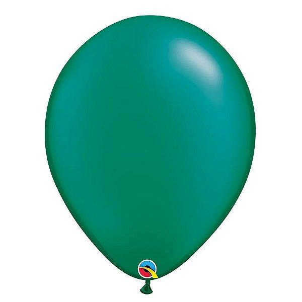 Balão Qualatex Perolado Radiante Opaco Verde Esmeralda 11'' 5 unidades Profissional - Rizzo Festas