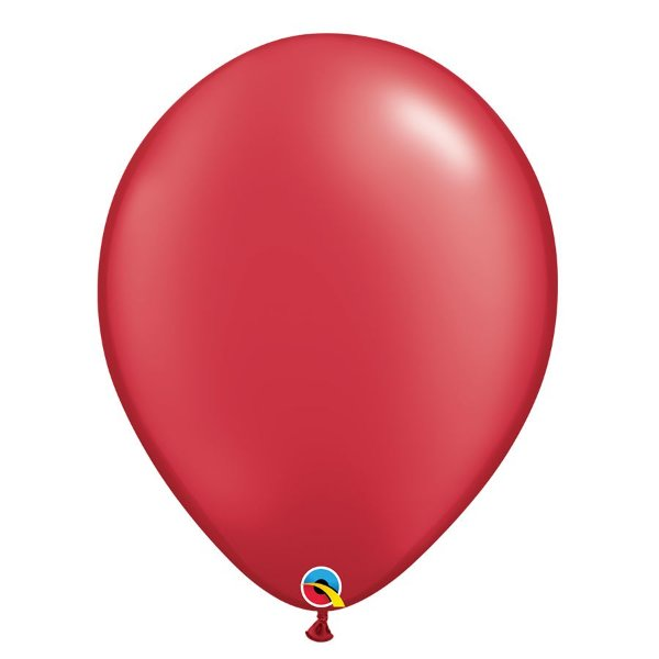 Balão Qualatex Perolado Radiante Opaco Vermelho Rubi 11'' 5 unidades Profissional - Rizzo Festas