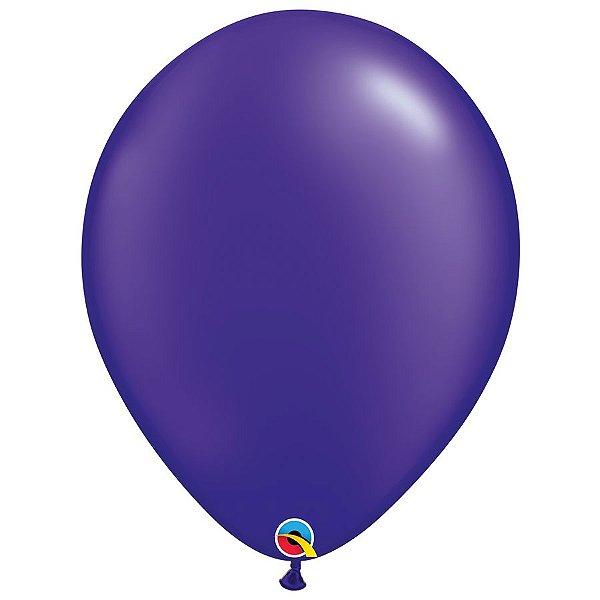 Balão Qualatex Perolado Radiante Opaco Roxo 16'' 5 unidades Profissional - Rizzo Festas