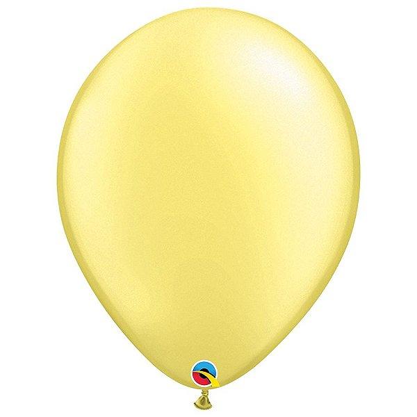 Balão Qualatex Perolado Radiante Opaco Limão Chiffon 16'' 5 unidades Profissional - Rizzo Festas