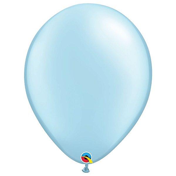 Balão Qualatex Perolado Radiante Opaco Azul Claro 16'' 5 unidades Profissional - Rizzo Festas