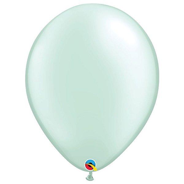Balão Qualatex Perolado Radiante Opaco Verde Menta 16'' 5 unidades Profissional - Rizzo Festas