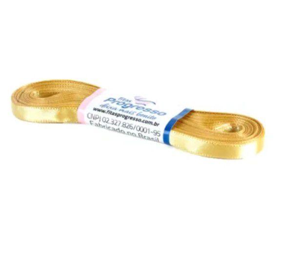 Fita de Cetim Progresso 7mm nº1 - 10m Cor 228 Ouro - 01 unidade - Rizzo Embalagens