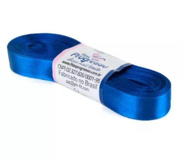 Fita de Cetim Progresso 15mm nº3 - 10m Cor 276 Azul Pavão - 01 unidade - Rizzo Embalagens