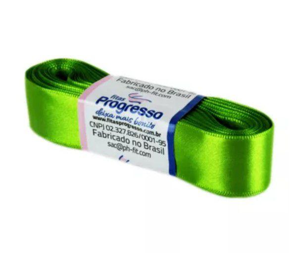 Fita de Cetim Progresso 22mm nº5 - 10m Cor 677 Verde Folha - 01 unidade - Rizzo Embalagens
