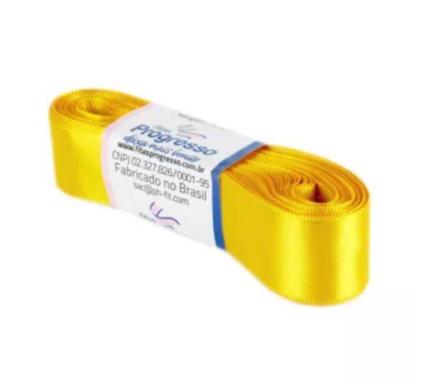 Fita de Cetim Progresso 22mm nº5 - 10m Cor 038 Amarelo Ouro - 01 unidade - Rizzo Embalagens