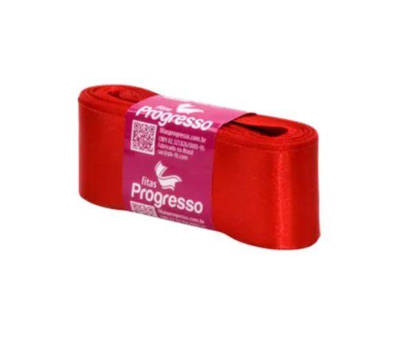 Fita de Cetim Progresso 38mm nº9 - 10m Cor 1354 Vermelho Tomate - 01 unidade - Rizzo Embalagens