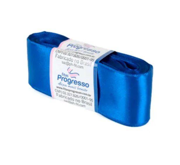 Fita de Cetim Progresso 38mm nº9 - 10m Cor 276 Azul Pavão - 01 unidade - Rizzo Embalagens