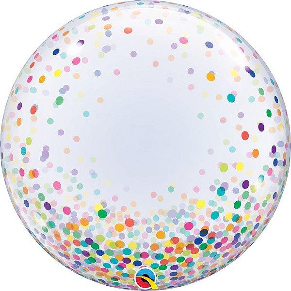 Balão Bubble Transparente Confete Colorido - 22'' 56cm - Qualatex - Rizzo festas
