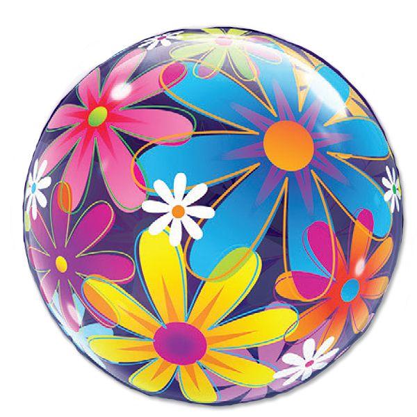 Balão Bubble Transparente Flores Extravagantes - 22'' 56cm - Qualatex - Rizzo festas