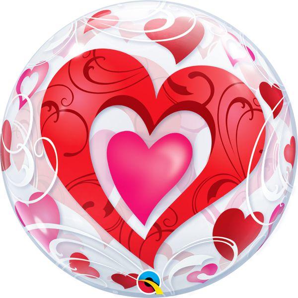 Balão Bubble Transparente Corações - 22'' 56cm - Qualatex - Rizzo festas