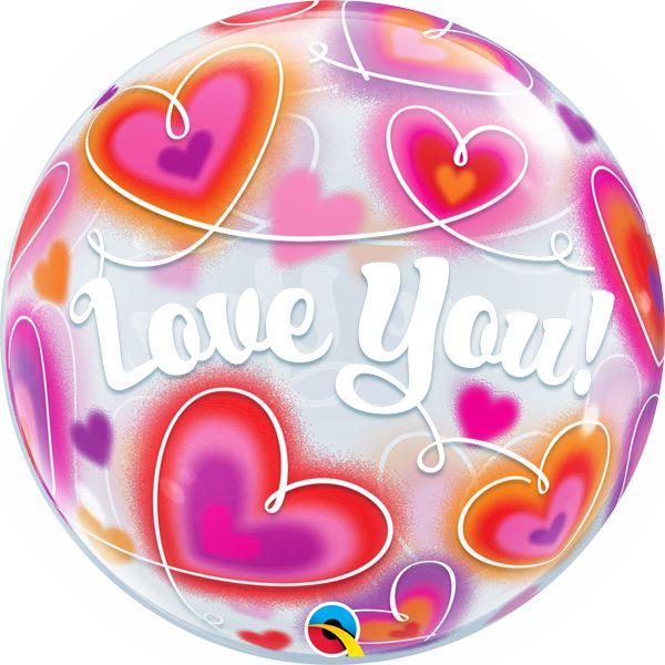 Balão Bubble Transparente Love You - 22'' 56cm - Qualatex - Rizzo festas