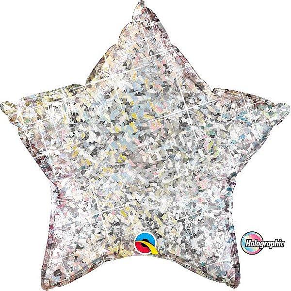 Balão Metalizado Holográfico Estrela Prata - 20'' - Qualatex - Rizzo festas