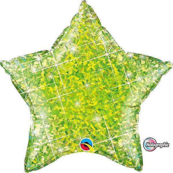 Balão Metalizado Holográfico Estrela Lima - 20'' - Qualatex - Rizzo festas