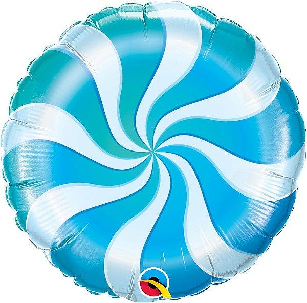 Balão Metalizado Bala Espiral Azul - 18'' - Qualatex - Rizzo festas