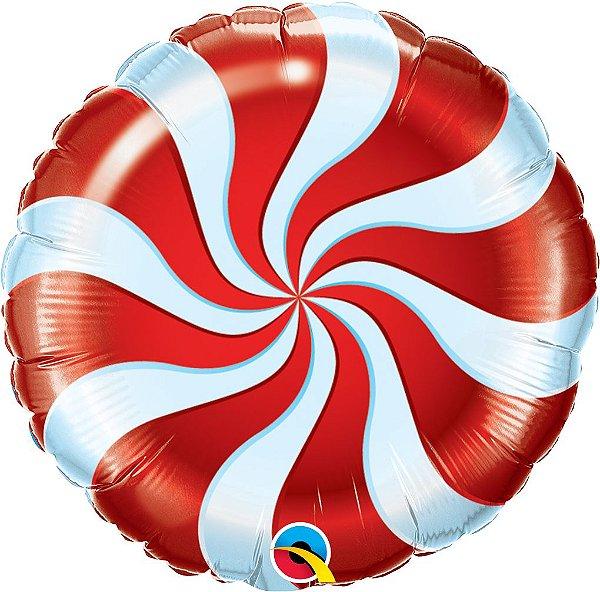Balão Metalizado Bala Espiral Vermelha - 18'' - Qualatex - Rizzo festas