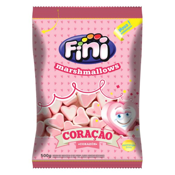 Marshmallow Coracao 500g - Fini - Rizzo Embalagens