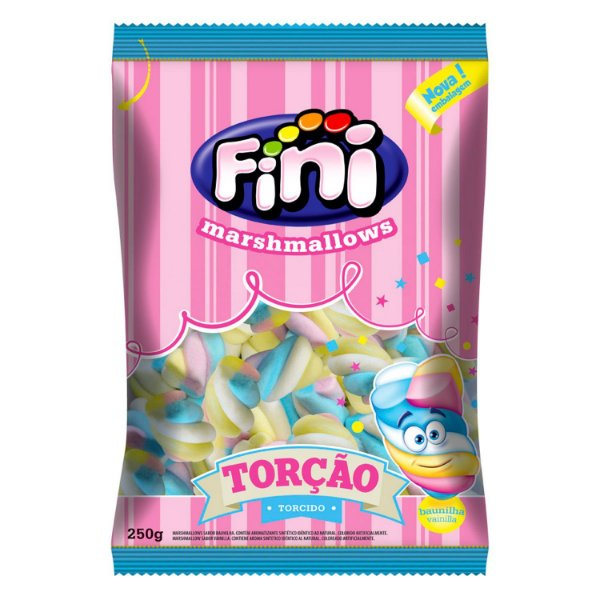 Marshmallow Torcao 3 Cores 250g - Fini - Rizzo Embalagens