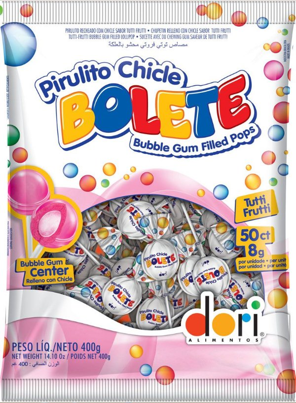Pirulito Chicle Bolete Tutti-Frutti 50 unidades 400g - Dori Alimentos - Rizzo Embalagens