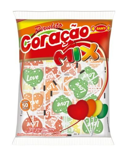 Pirulito Duro Coracao Mix 600g 50 unidades - Sams Doces - Rizzo Embalagens